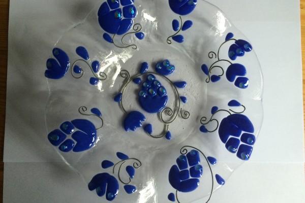Szecis kék tányér